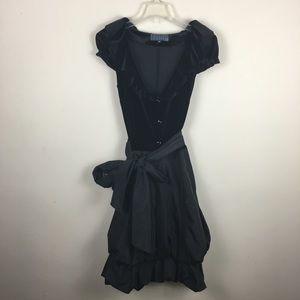 Bigoschi black bubble hem midi dress